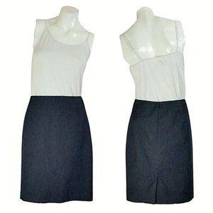 Ann Taylor Dark Gray Cotton Midi Pencil Skirt